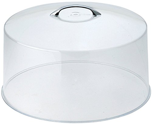 Winco Cake Stand Stainless Steel, Round,13-Inch and Acrylic Cake Stand Cover, 12-Inch, Clear- Gift Set