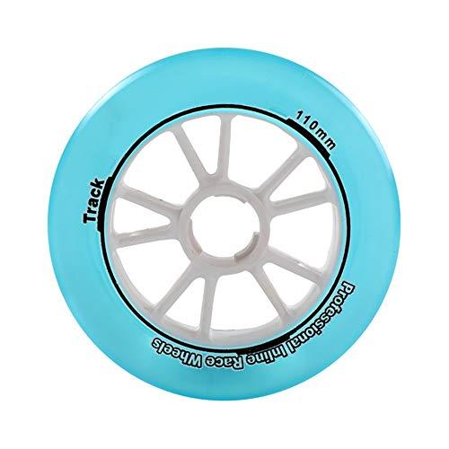 TGHY Rueda de Patinaje de Velocidad Translúcida de 110mm para Patines En Línea Rueda de Repuesto para Patinete de 85A para Niños Adolescentes 2 Piezas,Azul