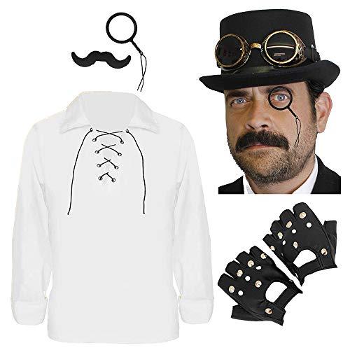 Disfraz de steampunk blanco para hombre, disfraz de victoriano para hombre, accesorio de disfraz de Halloween, camisa, sombrero, gafas y tachuelas, monculo y guantes. Tamao: XXXG