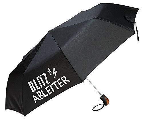 Gilde Regenschirm/Taschenschirm mit lustigem Spruch zum Wetter - 3 Farben und 6 Sprüche zur Auswahl (Blitzableiter schwarz)