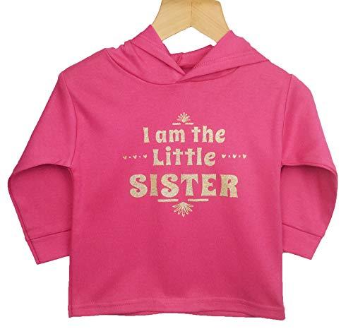 """Pijama de bebé con texto en inglés """"I Am The Little Sister"""", diseño de Hoddie, baberos de regalo e impreso en el Reino Unido utilizando 100% algodón peinado fino Rosa Cereza 3 - 6 Meses"""