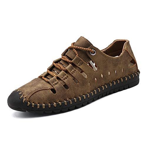 WOJIAO Los Zapatos de los Hombres Ahuecan hacia Fuera el Cuero Respirable del Verano Sandalias de Moda Manual Zapatilla Informal