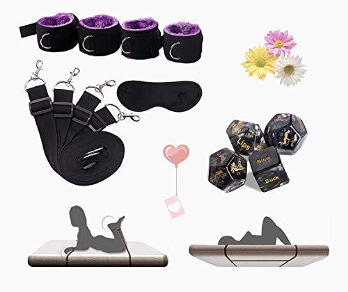 Cinturón de entrenamiento de yoga de ligamento de correa de estiramiento de tobillo de muñeca deportiva para cama con venda para los ojos y 4 dados interesantes