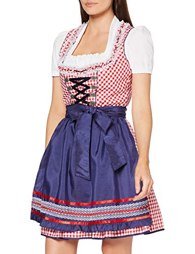 Fuchs Trachtenmoden 5678, Dirndl da Donna, Multicolor (Rot/Blau), 46 (Taille du fabricant: 46)