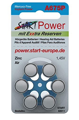 START - 60 Batterien für Cochlea Implantate - CI - Typ A675P - 1.45V - 550mAh - PR44P