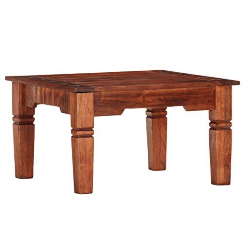 Goliraya Tavolino da Salotto Vintage in Legno Massello di Acacia,Tavolino da caffè Vintage in Legno,Tavolino Vintage,Tavolino da Vintage Quadrato,Tavolino Basso,Tavolino Quadrato 60x60x35 cm