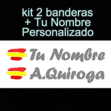 Vinilin Pegatina Vinilo Bandera España + tu Nombre - Bici, Casco, Pala De Padel, Monopatin, Coche, Moto, etc. Kit de Dos Vinilos (Dorado): Amazon.es: Deportes y aire libre