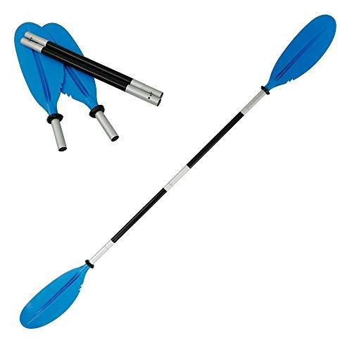 Your's Bath 1 Pz Pagaia per Kayak Doppio Testa in Alluminio Paddle Kayak Regolabili Removibili Portabile per Barche Gommone (Blu)