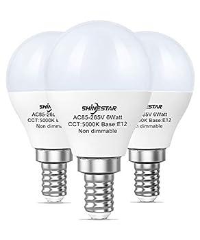 SHINESTAR Bright LED Ceiling Fan Light Bulbs 60 watt Equivalent Daylight 5000K E12 Small Base Non-dimmable 3-Pack