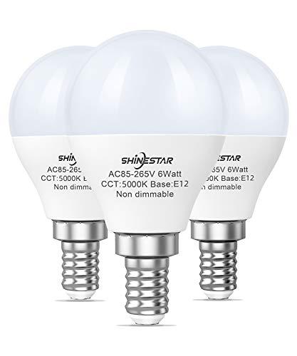 SHINESTAR Bright LED Ceiling Fan Light Bulbs, 60 watt Equivalent, Daylight 5000K, E12 Small Base, Non-dimmable, 3-Pack