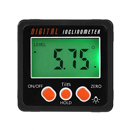 KKmoon Inclinometro Digitale, Mini Goniometro Inclinometro Livello Scatola Angolo Calibro Metro 4 * 90 Gradi Gamma Inferiore, Angle Finder con Base Magnete Multifunzione Retroilluminazione Display