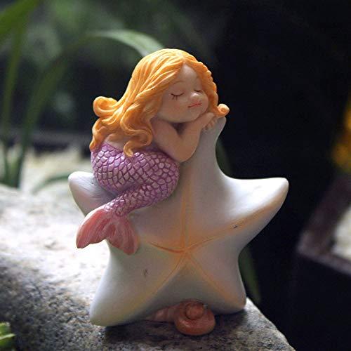 Figure Figures Statue Statuette Cute Sleeping Mermaid Figures for Aquarium Miniature Fairy Garden Cake Decorations Resin Room Decor Accessories Shells TV Cabinet Desktop Christmas