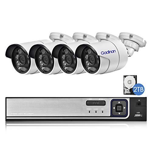 Gadinan 8CH 5MP PoE Sistema de cámara de seguridad para el hogar con detección facial, 4 cámaras IP PoE de audio al aire libre con cable de 5MP, NVR de 8 canales y 5MP con disco duro de 2TB