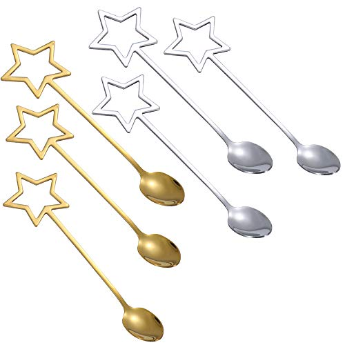 Huijing 6 Cucharillas Postre, Cuchara De Acero Inoxidable Cuchara De Estrella Dorada Cuchara De Mezcla Cuchara De Postre De Estrella De Cinco Puntas