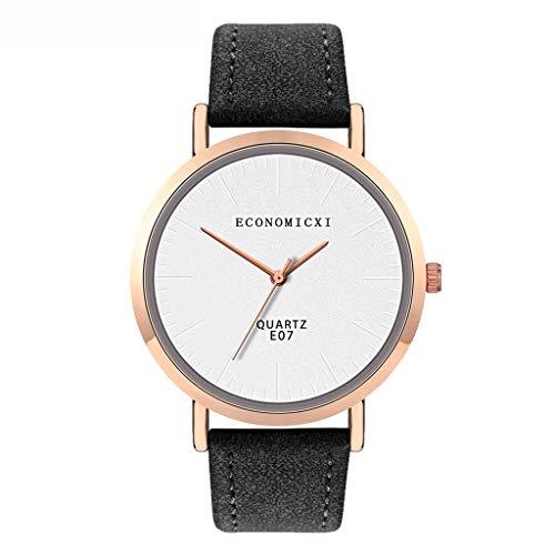 jieGorge ✔ Modische Damen-Armbanduhr mit Lederband, analog, rund, Quarz, kompakte Uhr für Sie jetzt kaufen (weiß)