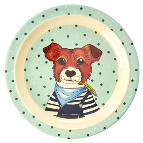 Rice Kinderteller flach, Durchmesser 20cm, mit süßem Tierprint Hund aus der Serie Animal Farm grün