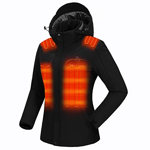 Venustas Women's Heated Jacket with Battery pack 7.4V, Windproof Electric Insulated Coat with Detachable Hood Slim Fit