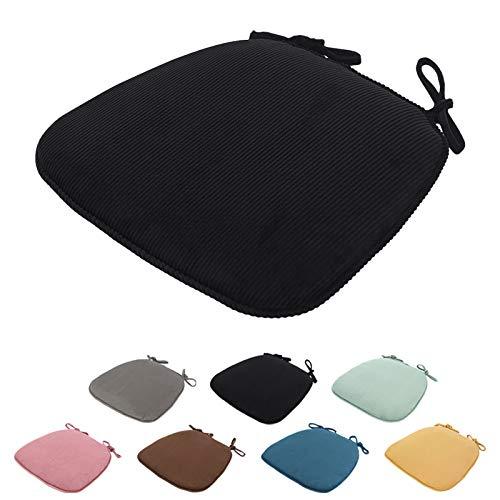 SWECOMZE 2 cuscini per sedia, 43 x 41 x 35 cm, cuscino per sedia, cuscino per sedia, con nastri, sedia da giardino (nero)