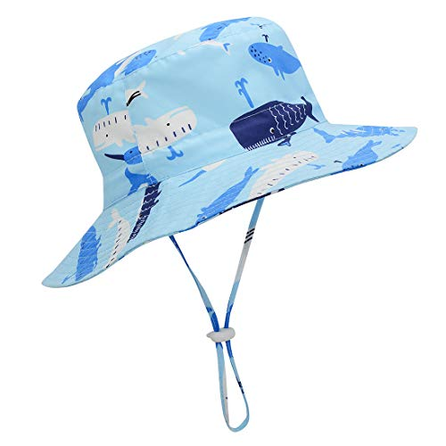 Durio Sun Hat Toddler Hats for Boys Toddler Sun Hats UPF 50+ Summer Beach Hat Baby Sun Hat Kids Infant Hat B Blue Whale 19.7'(50cm)/12-24 Months