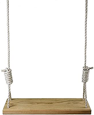 Made in the USA Red Oak Premium Wooden 36 Inch Tree Swing - Outdoor Patio Wood w/ 15 ft of Rope on Each Side