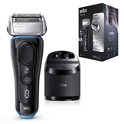 Braun Series 8 8385 cc - Afeitadora Eléctrica Hombre Nueva Generación, para Barba Recargable, Inalámbrica, Estación Limpieza y Carga Clean&Charge, Negro