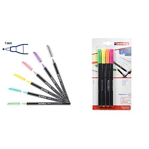 Edding 1200 – Rotuladores de pastel – Punta redonda 1 mm – Juego de 6 + 1200NEON4 - Blister con 4 rotuladores, color neón