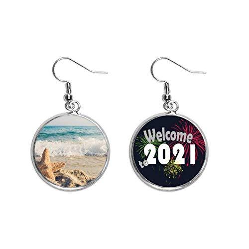 Pendientes con diseño de estrella de mar y mar en la playa de océano arena 2021 bendición