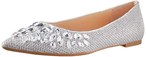 Jewel Badgley Mischka Women's ULANNI Shoe, Silver Fabric, 8.5 M US