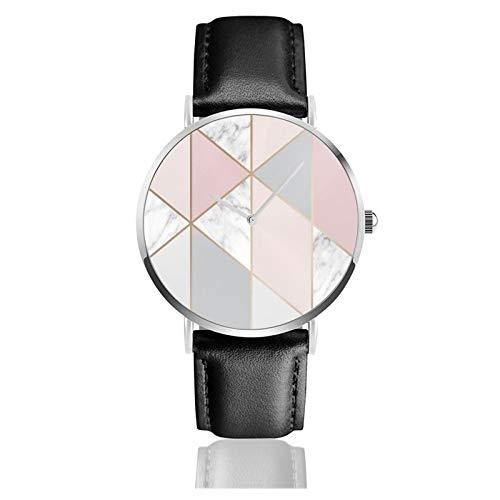 Marble Blush Geo Classic Casual Reloj De Cuarzo Acero Inoxidable Negro Correa De Cuero Relojes De Pulsera Relojes