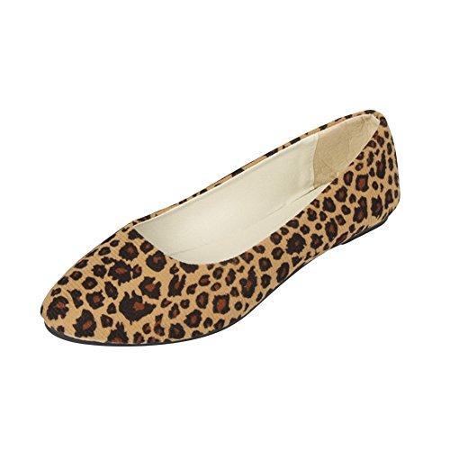 MISSMAO Damen Ballerinas Flats Geschlossene Klassisch Flache Schuhe Rutsch Loafers Schuhe Flache Leopard Slippers,Beige Leopard,EU 39