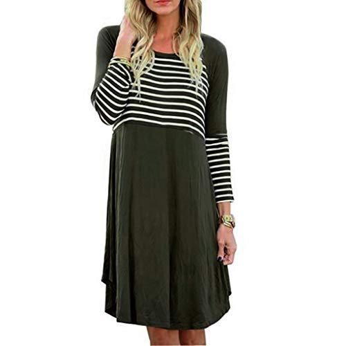 TEELONG Kleider Damen Mode O-Ausschnitt mit Langen Ärmeln Druckstreifen Spleißen langes Kleid Ballkleid Partykleid Cocktailkleid(XL, Grün)