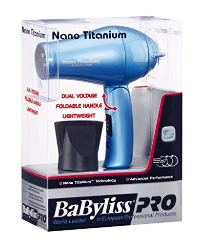 BaBylissPRO Nano Titanium Travel Dryer, Blue