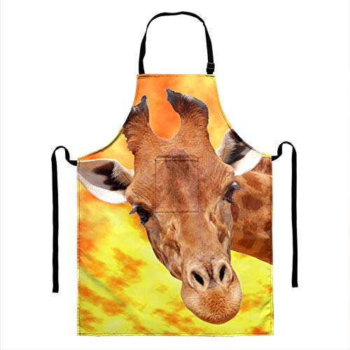 HUGS IDEA 3D Vivid Giraffe Novelty Animal Printed Polyester Lengthen Cooking Apron, Funny Gift Adjustable Kitchen Apron Soft Chef Apron with Pocket for Women and Men Bib Apron One Size