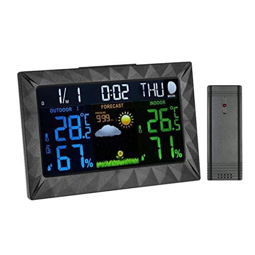 YXFYXF Digitale Wecker, kabellose Wetterstation, Innen- und Außenbereich, Hintergrundbeleuchtung, Temperatur- und Feuchtigkeitsüberwachung, Farbwecker, Fernbedienung, digitaler Wecker, Nachttisch