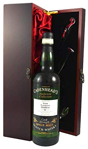 Tormore 12 year old Highland Malt Whisky 1984 Cadenhead's Cask Strength in einer mit Seide ausgestatetten Geschenkbox. Da zu vier Wein Accessoires 1 x 700ml