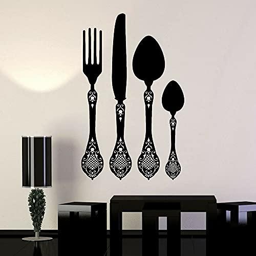 Cuchara cuchillo y tenedor calcomanías de papel tapiz vajilla cocina restaurante decoración pegatinas de pared papel tapiz para el hogar A4 89x57cm