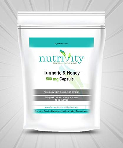 Turmeric & Honey Capsules 500mg Super Strength Dual Action, by Nutrivity UK (30)