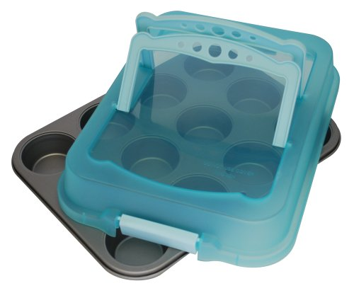 G & S Metal Products Company Ovenstuff Nonstick Muffin Bakeware Pan with Lid Cover With Handles, 12-Cup, Angel Blue