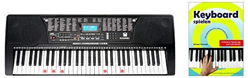 McGrey LK-6150 61 Tasten Set (Elektronisches Keyboard mit 61 Tasten, Leuchttasten und Lautsprecher, inkl. Musikschule, ideal für Schüler und Anfänger) Schwarz