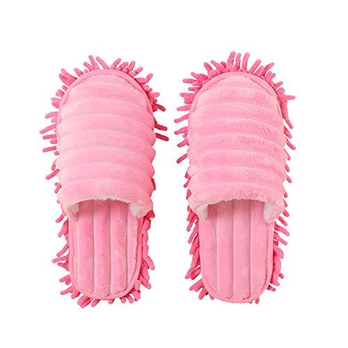 Teekit 1 Paar Mop Hausschuhe Faul Reinigung Boden Reinigen Staub Warm Warm für Zuhause Schlafzimmer,Rosa,M