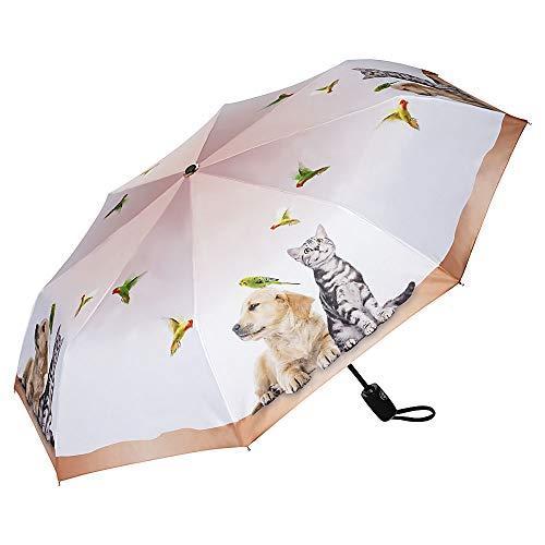 VON LILIENFELD Regenschirm Taschenschirm Welpe Kätzchen Tierleben Stabil Leicht Auf-Automatik Kinderschirm Katze Hund Vogel