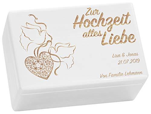 LAUBLUST Holzkiste zur Hochzeit - Turteltauben - Geschenkkiste Personalisiert mit Gravur - ca. 30x20x14cm, Weiß, FSC®