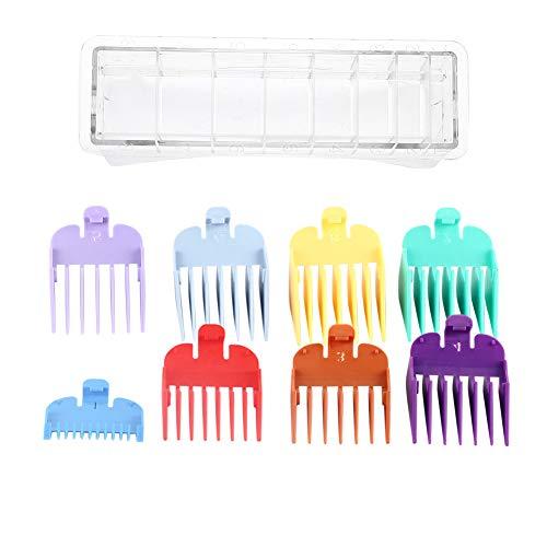 Juego de accesorios de la guía recortadora universal de peine con límite de cabello premium Guías de corte codificadas 8 tamaños en color,