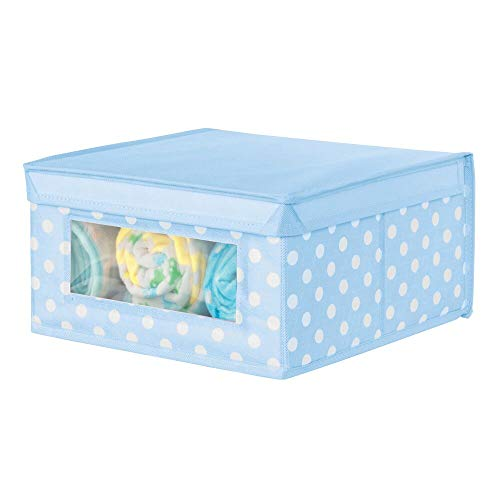 mDesign Caja de almacenaje de Tela de Lunares – Cajas organizadoras apilables para ordenar armarios, Ropa o Accesorios de bebé – Organizador de armarios con Tapa y ventanilla – Azul Claro/Blanco