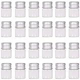 MaxMau Mini Glass Bottles with Screw Caps 5ml 24 Sets Aluminum Top Metal Lids 5 Milliliter Tiny Vials Small Jars DIY Storage Art Craft Decor