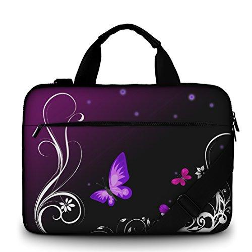 Silent Monsters canvas laptoptas 39,6 cm (15,6 inch) met accessoirevak, design: Purple Butterfly
