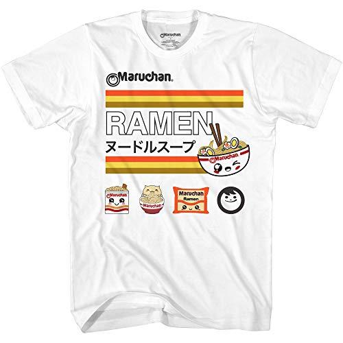Maruchan Men's Anime-1 T-Shirt, White/Multi, Large