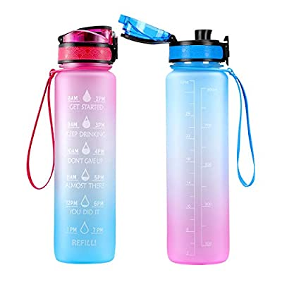 Amazon - 51% Off on Motivational Water Bottle with Time Marker & Removable Strainer Flip Top Leakproof