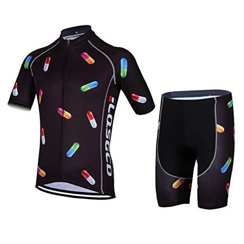 FMBK666 Traje de Jersey de Ciclismo para Hombre, Conjunto de Ropa de Bicicleta de Verano de Manga Corta para Hombre, Top MTB + Shorts de Montar Acolchados de Gel 3D, Transpirable de Secado rápido