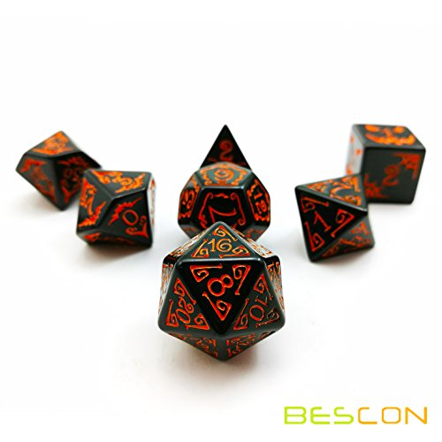 Bescon Halloween Polyhedral Dice 7pcs Set, Halloween RPG Dice Set d4 d6 d8 d10 d12 d20 d% Set of 7 Halloween Dice-DND Dice